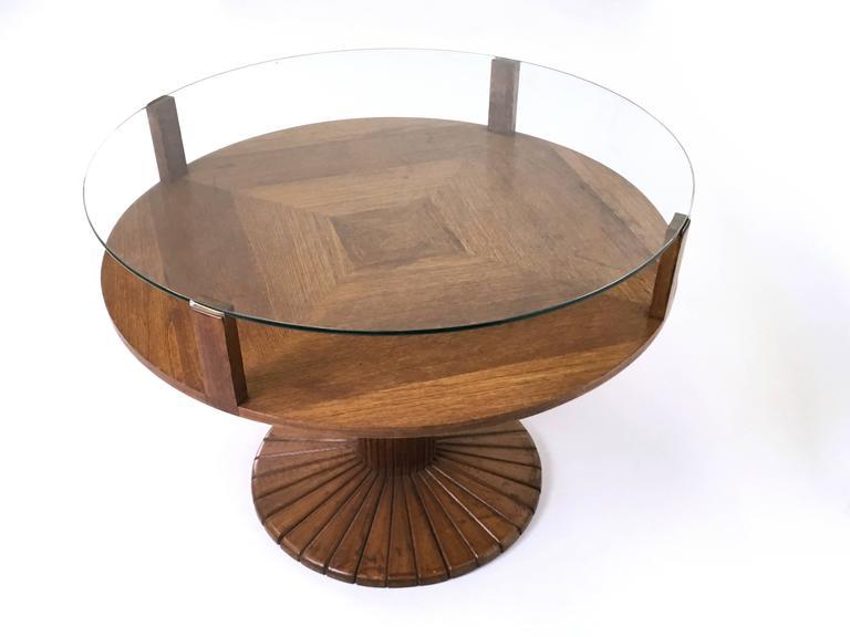 Oak And Tempered Glass Coffee Table Ascribable To Osvaldo Borsani 1940s At 1stdibs