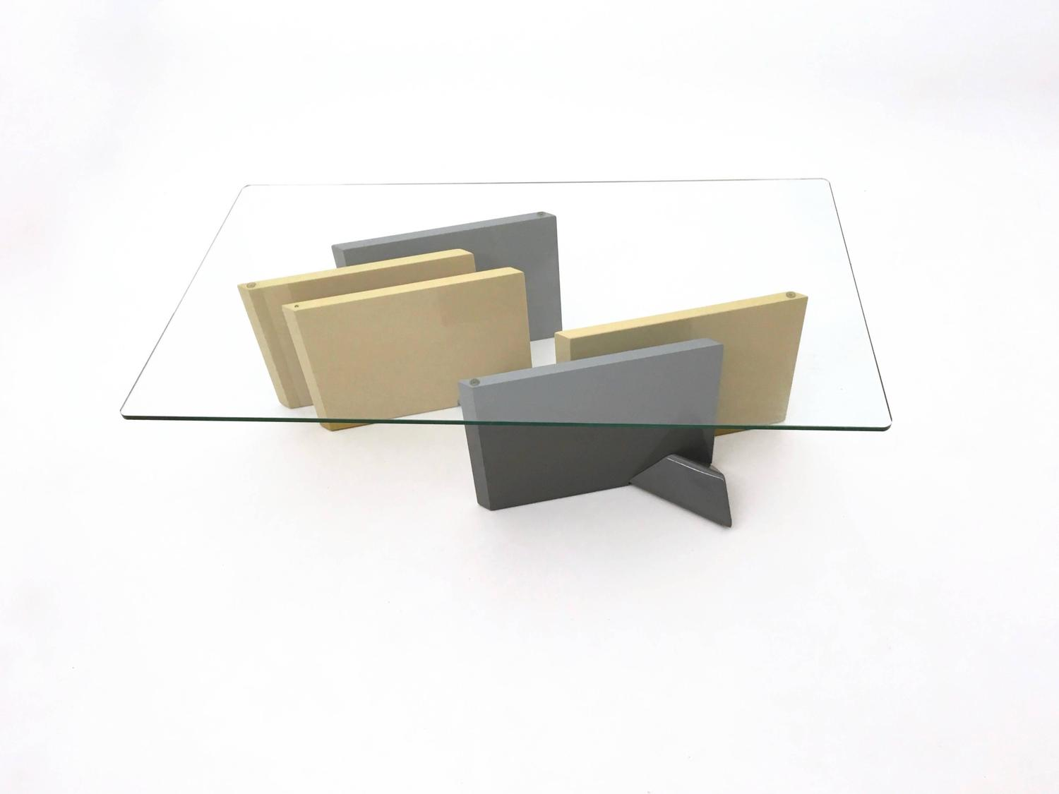 Crystal And Lacquered Wood Coffee Table 1980s For Sale At