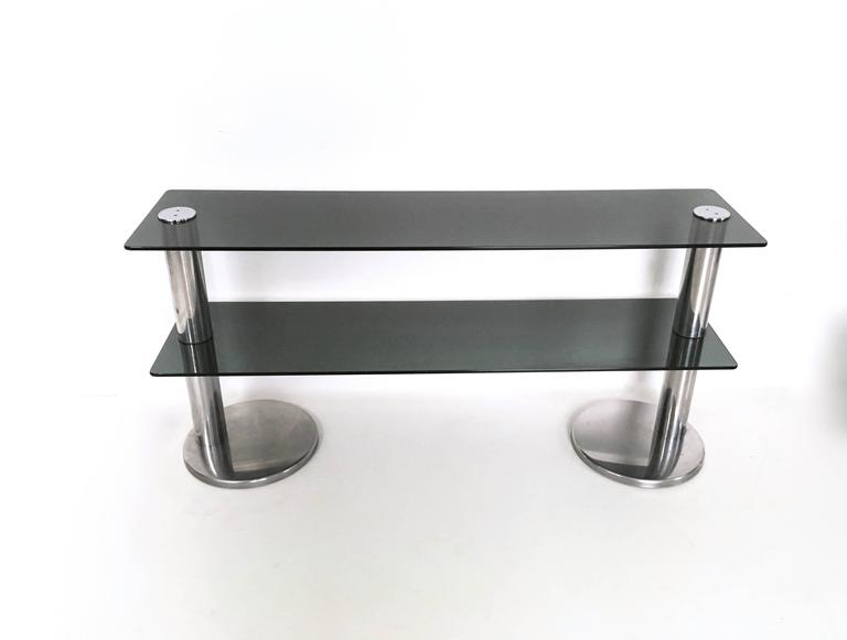 Late 20th Century Pair of Chromed Metal and Glass Console Tables, 1970s For Sale