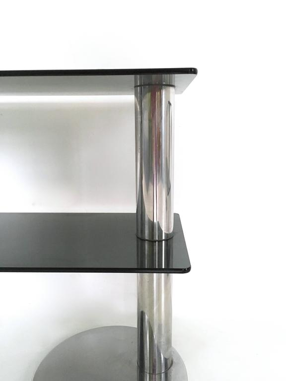 Pair of Chromed Metal and Glass Console Tables, 1970s For Sale 3
