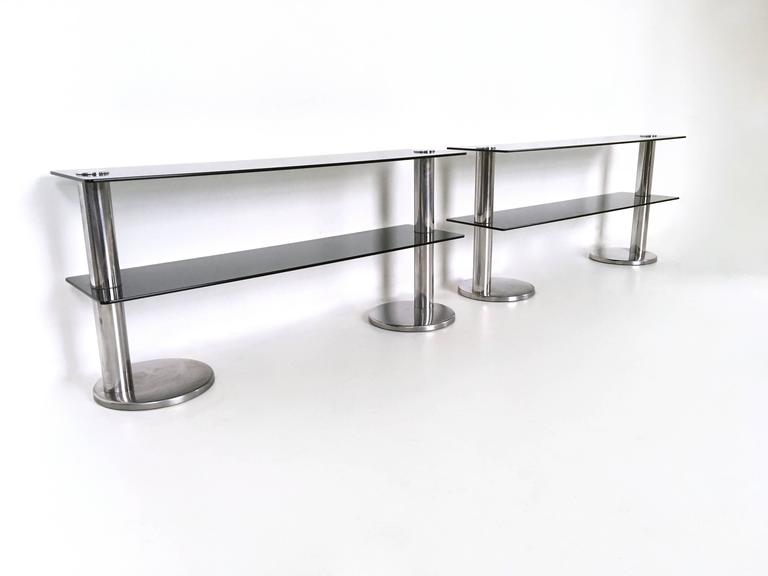 Console table made from chromed metal and glass.