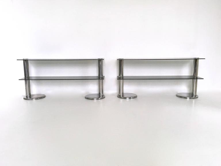 Pair of Chromed Metal and Glass Console Tables, 1970s In Excellent Condition For Sale In Bresso, Lombardy