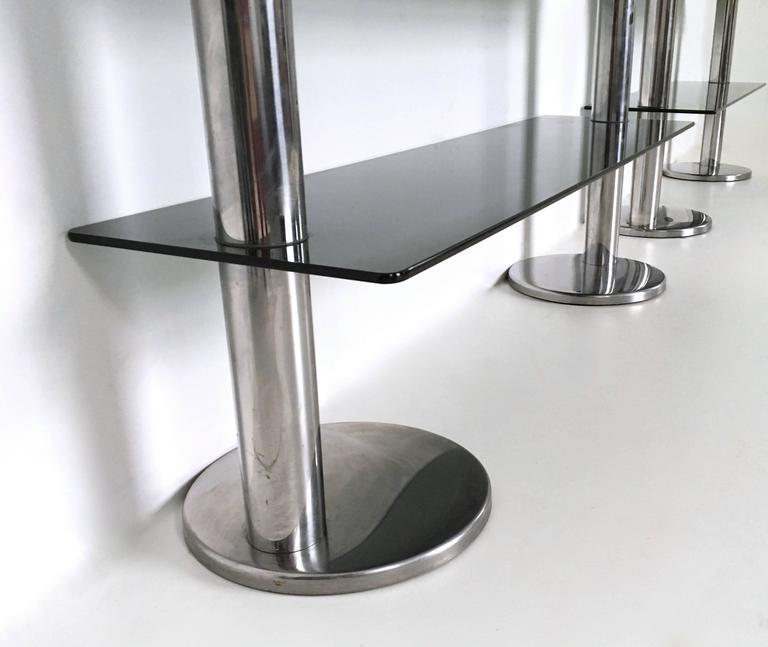 Pair of Chromed Metal and Glass Console Tables, 1970s For Sale 4