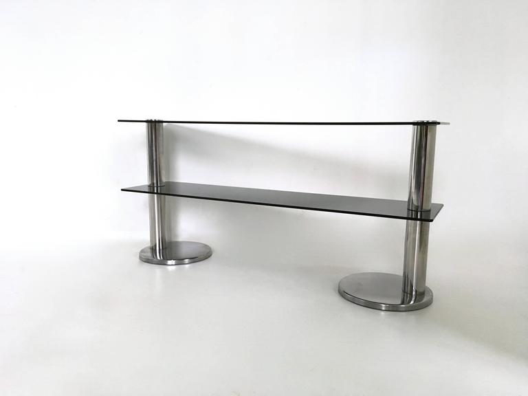 Pair of Chromed Metal and Glass Console Tables, 1970s For Sale 1