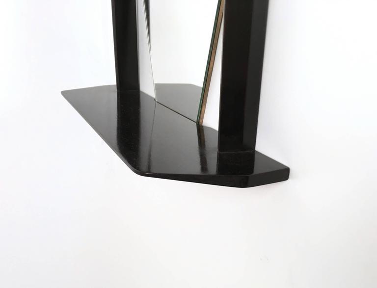 Pair of Midcentury Rectangular Black Ebonized Wood Wall Mirrors, Italy, 1960s 5
