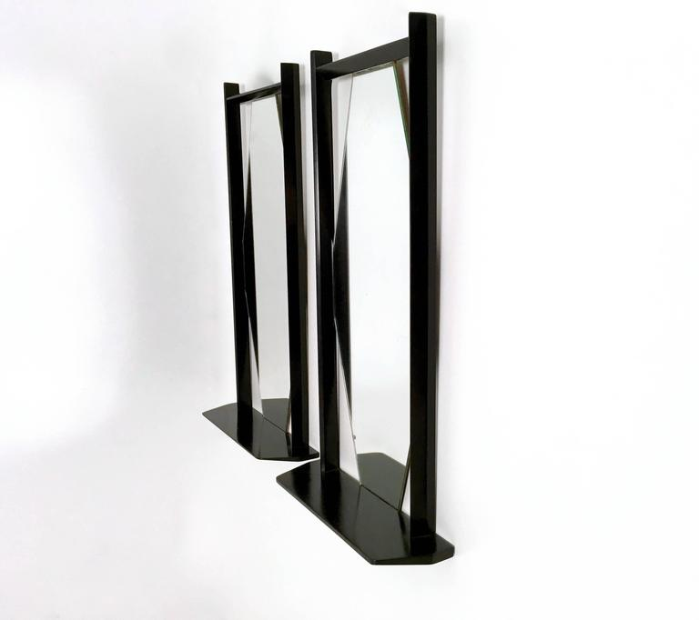 Pair of Midcentury Rectangular Black Ebonized Wood Wall Mirrors, Italy, 1960s In Good Condition In Bresso, Lombardy