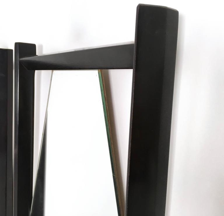 Pair of Midcentury Rectangular Black Ebonized Wood Wall Mirrors, Italy, 1960s 3