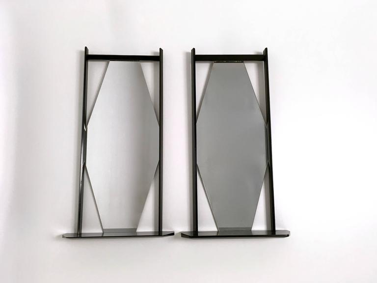 Italian Pair of Midcentury Rectangular Black Ebonized Wood Wall Mirrors, Italy, 1960s