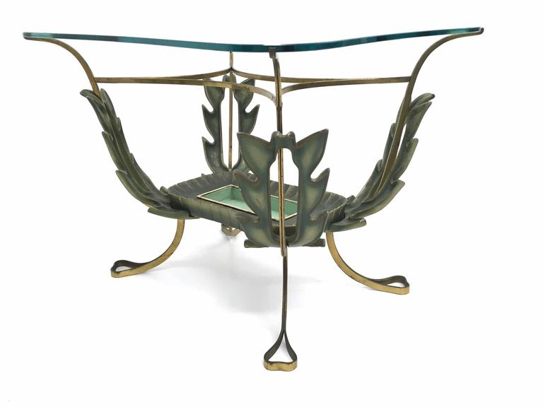 Brass and Varnished Metal Coffee Table by Pierluigi Colli, Italy 1950s In Excellent Condition For Sale In Bresso, Lombardy