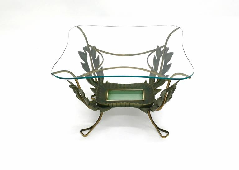 Painted Brass and Varnished Metal Coffee Table by Pierluigi Colli, Italy 1950s For Sale