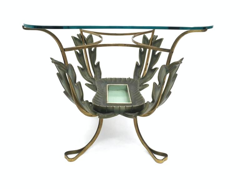 Mid-20th Century Brass and Varnished Metal Coffee Table by Pierluigi Colli, Italy 1950s For Sale