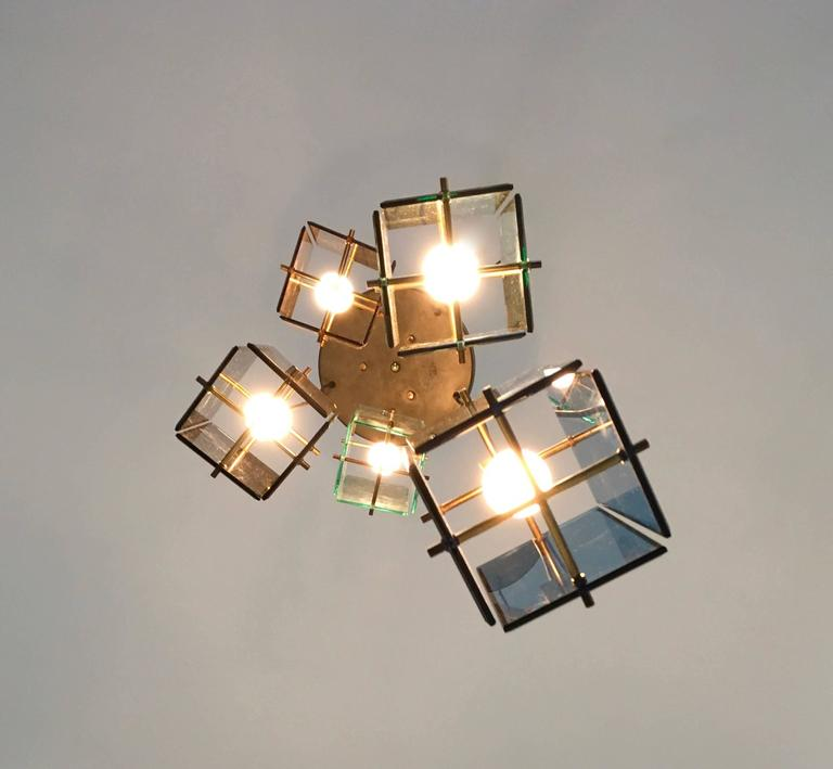 Glass Italian Five-Light Pendant in the Style of Fontana Arte, 1960s For Sale