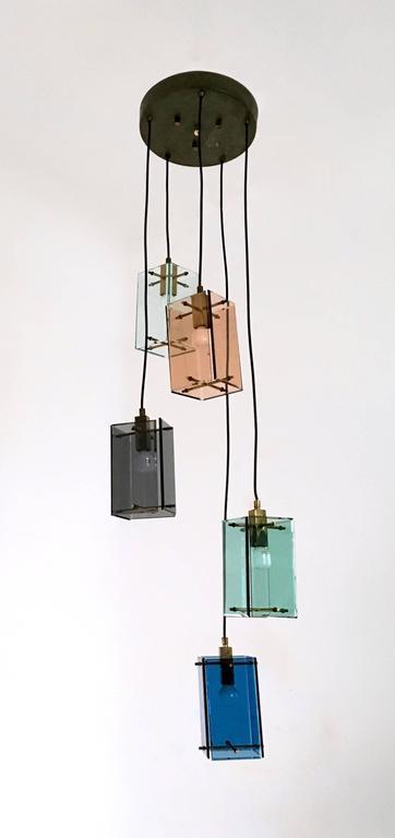 Beveled Italian Five-Light Pendant in the Style of Fontana Arte, 1960s For Sale