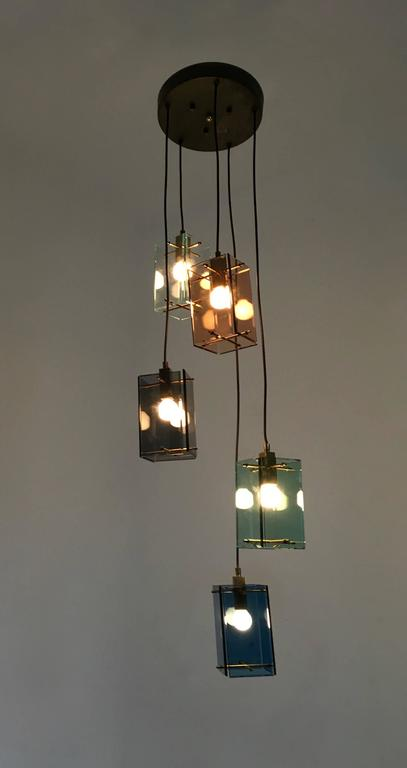 Italian Five-Light Pendant in the Style of Fontana Arte, 1960s In Good Condition For Sale In Bresso, Lombardy