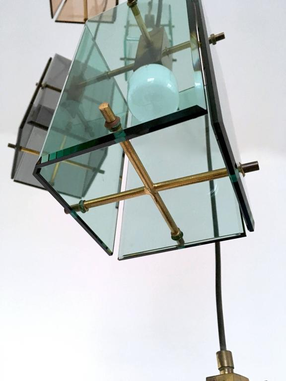 Italian Five-Light Pendant in the Style of Fontana Arte, 1960s For Sale 2