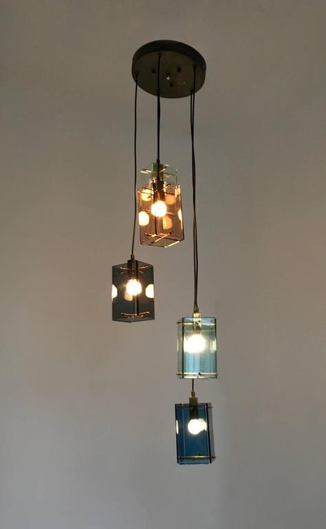 Mid-20th Century Italian Five-Light Pendant in the Style of Fontana Arte, 1960s For Sale