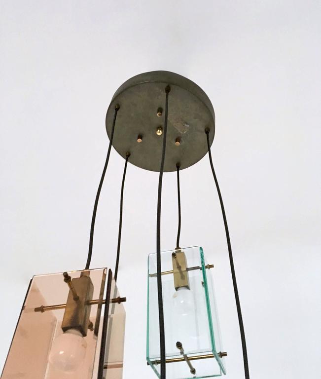 Italian Five-Light Pendant in the Style of Fontana Arte, 1960s For Sale 1