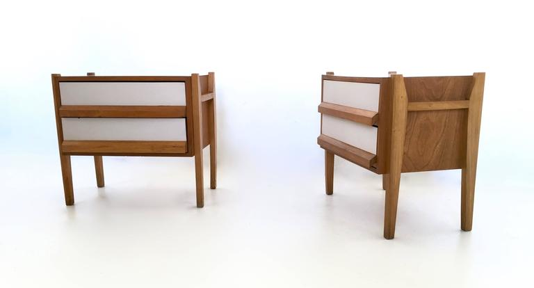 Italian Oak And Formica Bedside Tables 1950s At 1stdibs
