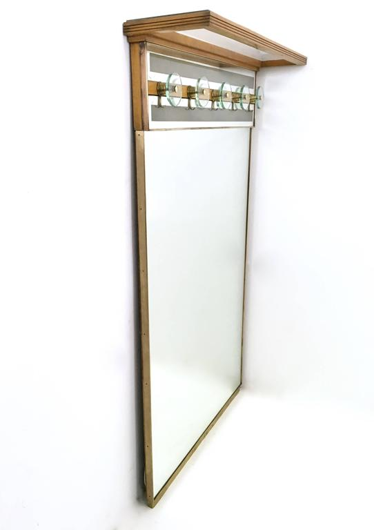 Italian Illuminated Coat Rack Ascribable to Fontana Arte, 1940s-1950s In Good Condition For Sale In Bresso, Lombardy