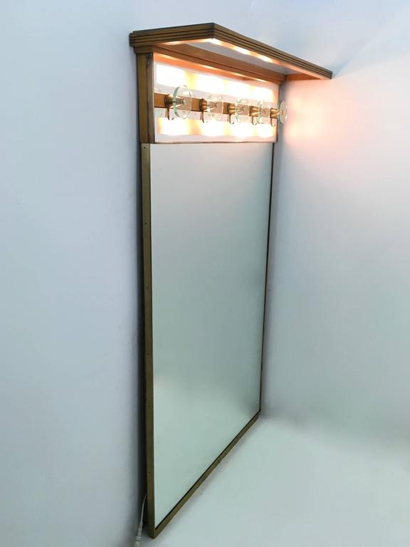 Mid-20th Century Italian Illuminated Coat Rack Ascribable to Fontana Arte, 1940s-1950s For Sale