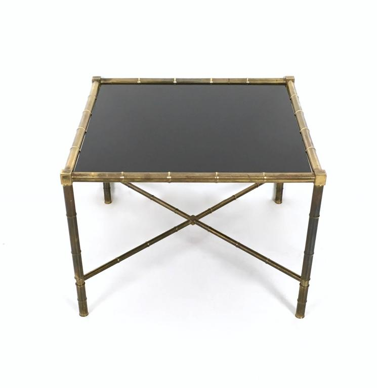 Brass And Opaline Glass Coffee Table Ascribable To Adnet