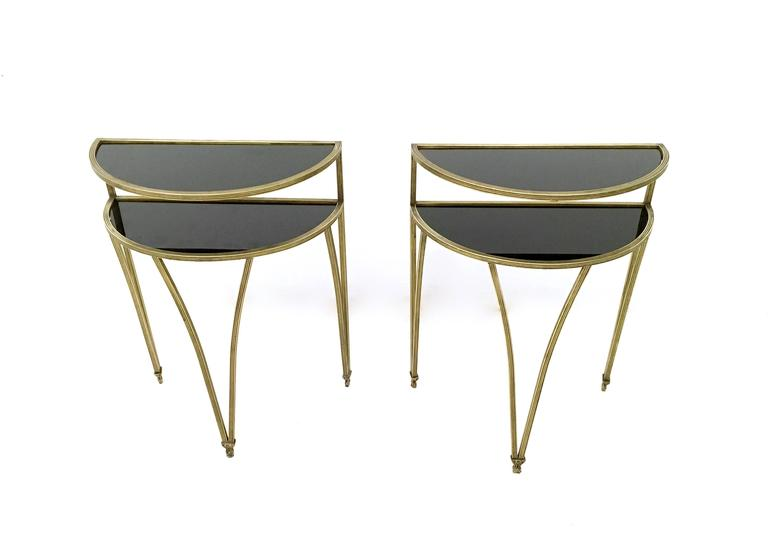 Game Night Glass Tables: Pair Of Brass And Opaline Glass Night Stands/Little