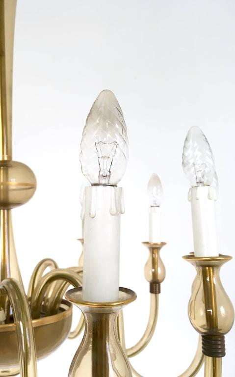 Vintage Murano Glass Chandelier, Italy, 1940s For Sale 2