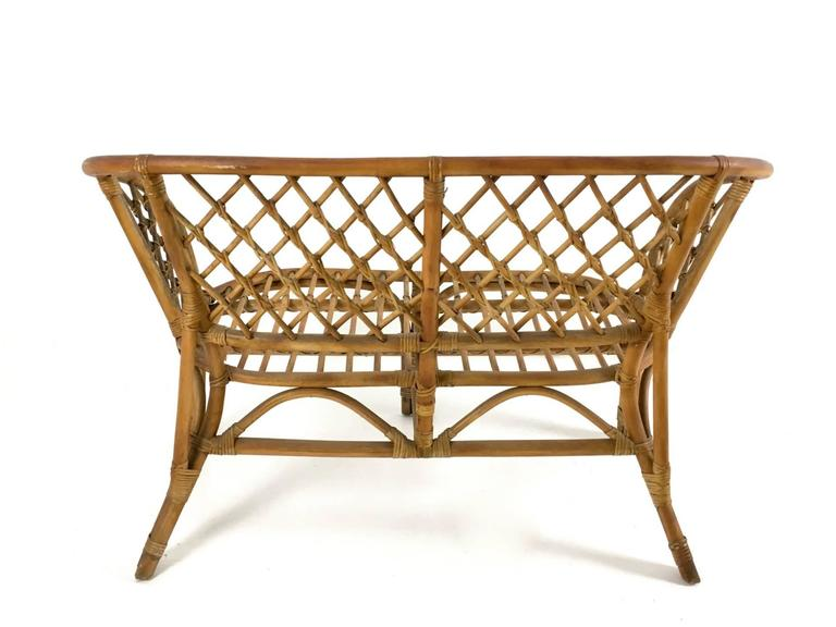Mid-20th Century Vintage Wicker Set, Italy, 1950s For Sale