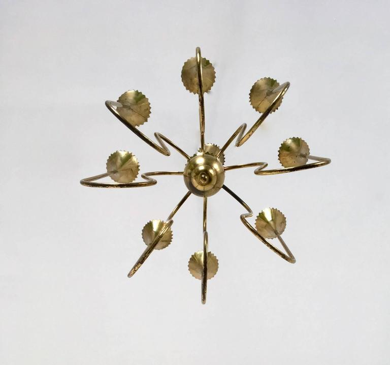 Italian Wonderful and Elegant Chandelier Highly Ascribable to Ulrich, Italy, 1940s For Sale