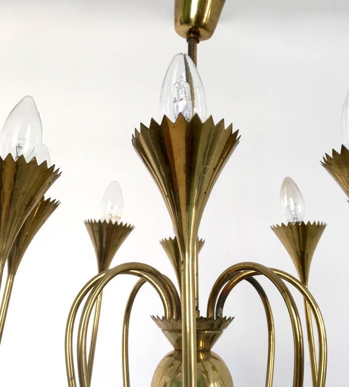 Mid-20th Century Wonderful and Elegant Chandelier Highly Ascribable to Ulrich, Italy, 1940s For Sale