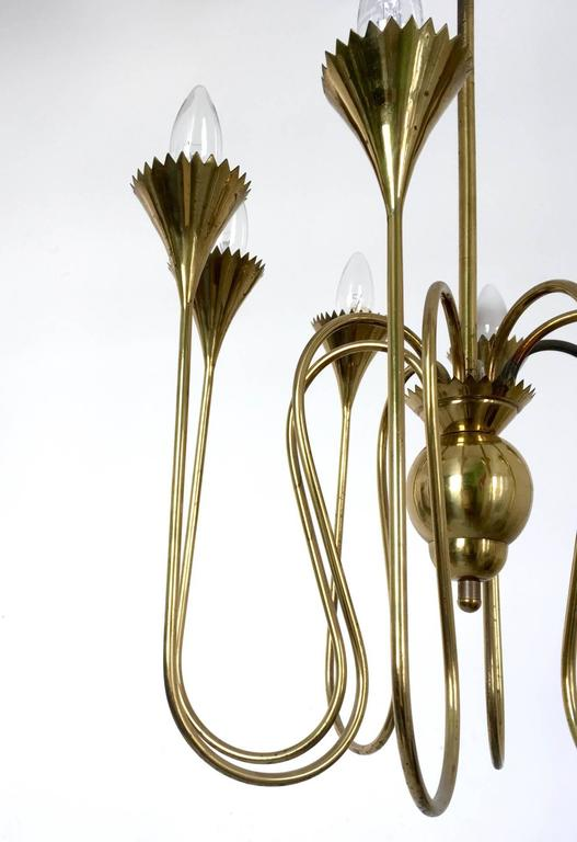 Brass Wonderful and Elegant Chandelier Highly Ascribable to Ulrich, Italy, 1940s For Sale