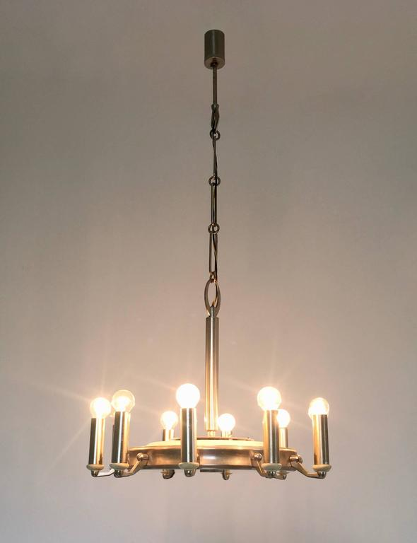 Italian Round Nickel-Plated and Varnished Metal Chandelier, Italy, 1950s For Sale