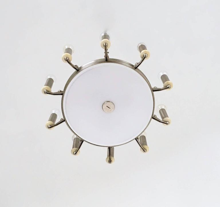Round Nickel-Plated and Varnished Metal Chandelier, Italy, 1950s In Excellent Condition For Sale In Bresso, Lombardy