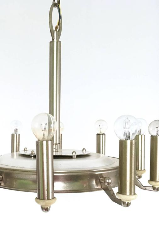 Round Nickel-Plated and Varnished Metal Chandelier, Italy, 1950s For Sale 3
