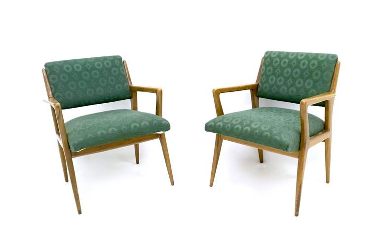 Pair of Solid Walnut Armchairs in the Style of Gio Ponti, Italy, 1950s 2
