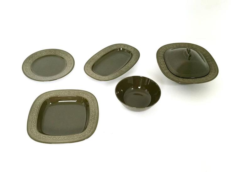Earthenware Five-Piece Serving Part by Antonia Campi, Italy, 1965 2