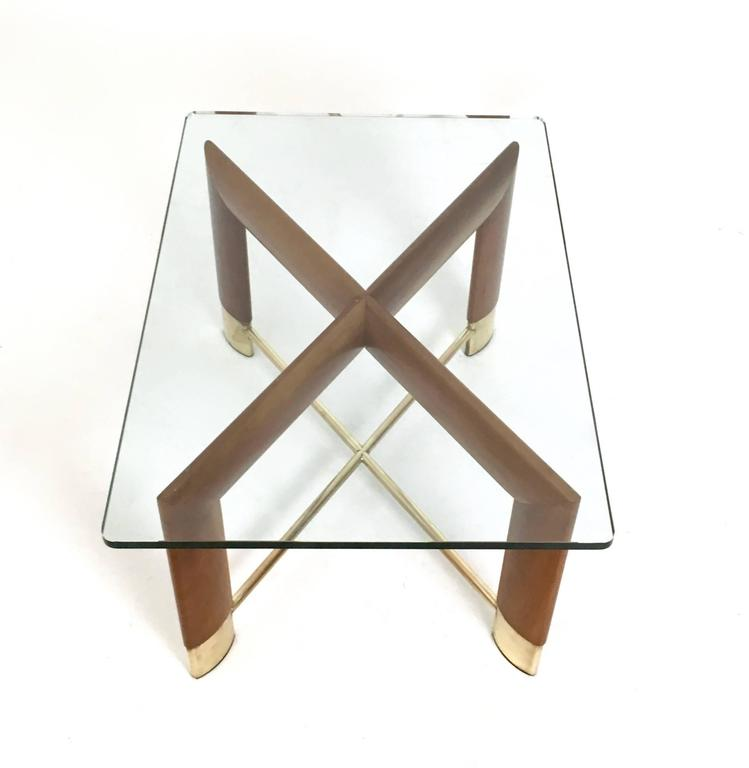 Walnut and Glass Coffee Table in the Style of Fontana Arte, Italy, 1970s For Sale 1