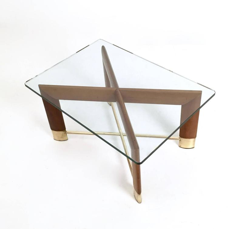 Walnut And Glass Coffee Table In The Style Of Fontana Arte Italy 1970s For Sale At 1stdibs