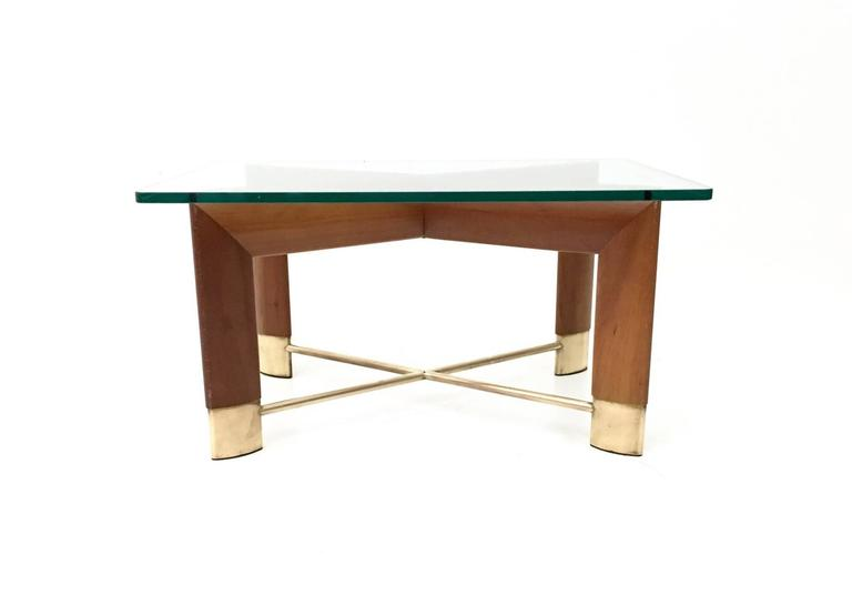 Walnut and Glass Coffee Table in the Style of Fontana Arte, Italy, 1970s 2