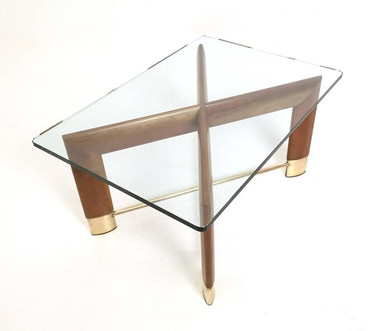 Walnut and Glass Coffee Table in the Style of Fontana Arte, Italy, 1970s 5