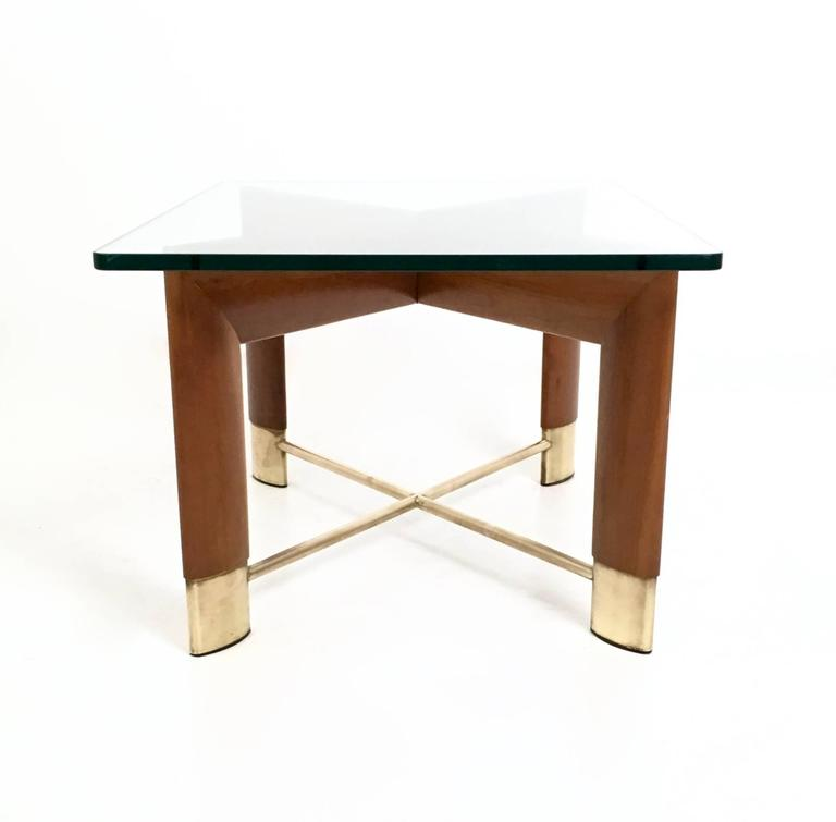 Italian Walnut and Glass Coffee Table in the Style of Fontana Arte, Italy, 1970s For Sale