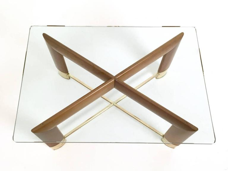 Brass Walnut and Glass Coffee Table in the Style of Fontana Arte, Italy, 1970s For Sale