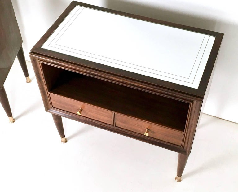 Mid-20th Century Pair of Mahogany Nightstands, Cantù, Italy, 1950s For Sale