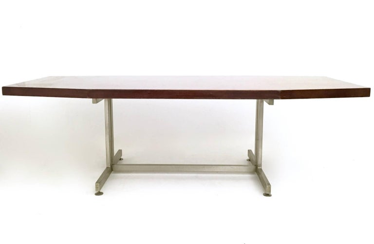 Wood And Steel Conference Table Italy S At Stdibs - Wood and metal conference table