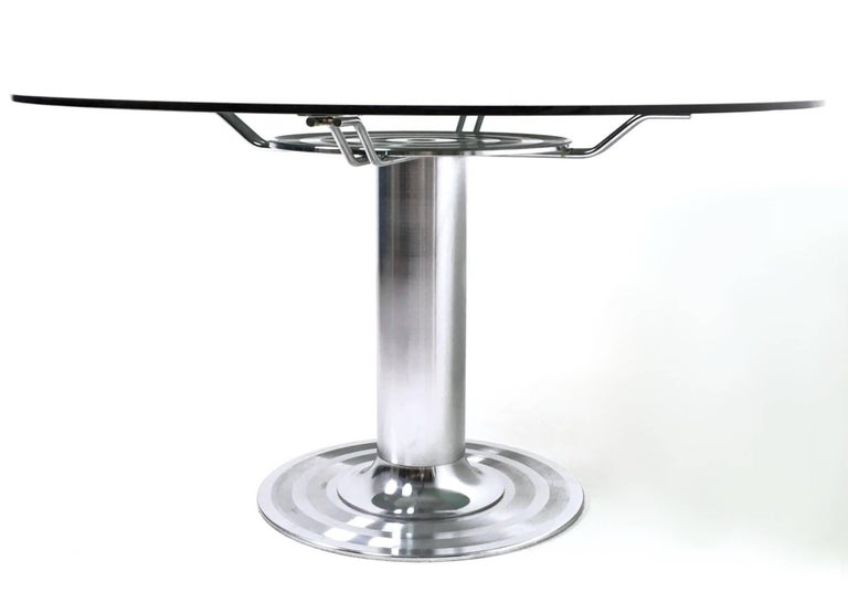 Round Chromed Metal Dining Table with a Tempered Glass Top, Italy, 1970s For Sale 1