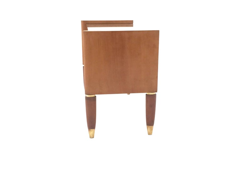 Italian Walnut Nightstand with a Glass Top, Italy, 1940s For Sale