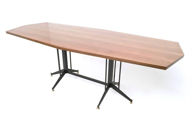 Walnut Veneered Conference Table with Varnished Metal Structure, Italy, 1960s 5