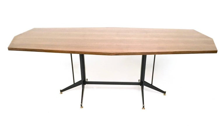 Walnut Veneered Conference Table with Varnished Metal Structure, Italy, 1960s 2