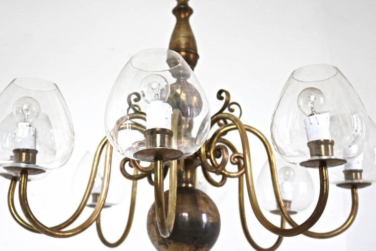 Italian Eight-Arm Brass Chandelier with Blown Glass Lampshades, Italy, 1960s For Sale