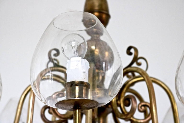 Mid-20th Century Eight-Arm Brass Chandelier with Blown Glass Lampshades, Italy, 1960s For Sale